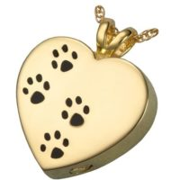Paw Prints on My Heart 14 Kt. Gold Plate Pendant