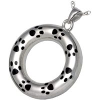 Eternity Silver Paw Prints Keepsake Pendant