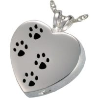 Paw Prints on My Heart Silver Pendant