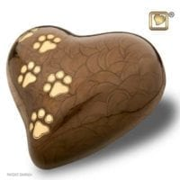 Brown Pearlescent Heart with Paws Large