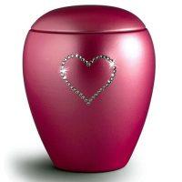 Swarovski Heart Urn Burgundy