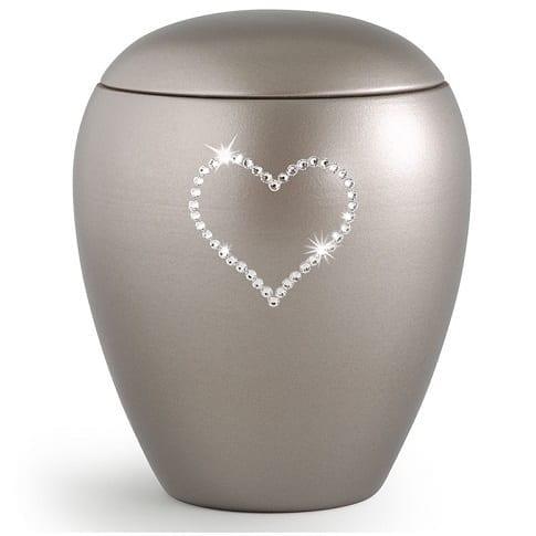 Swarovski Heart Urn Gray