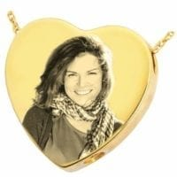 Gold Plate Heart Photo Cremation Necklace