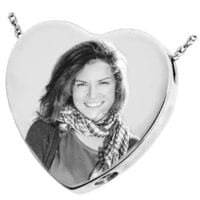Silver Heart Photo Cremation Necklace