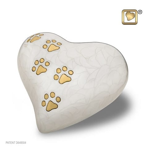 White Pearlescent Heart with Paws Large