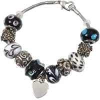 Charm Beads Cremation Bracelet Black and White