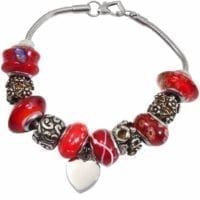 Charm Beads Cremation Bracelet Red