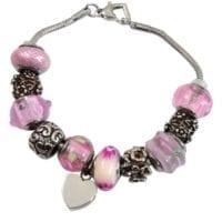 Charm Beads Cremation Bracelet Pink