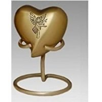 Brass Angel Heart Keepsake Urn