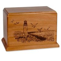 Etched Lighthouse Mahogany Urn