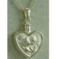 Silver Angels Heart Cremation Necklace