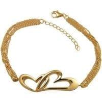 Gold Vermeil Linked Hearts Cremation Bracelet
