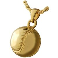 Gold Baseball Cremation Necklace