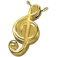 Gold Treble Clef Cremation Necklace