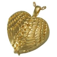 Heart Shape Angel Wings Gold Pendant
