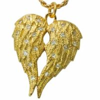 Angel Companion Gold Double Chamber Cremation Necklace