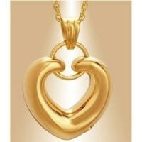 Gold Ringed Heart Ashes Pendant