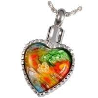 Multi Color Glass Heart Ashes Pendant I