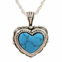 Silver Heart Turquoise Ashes Necklace