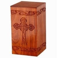 Large Cross Hand Carved Rosewood Urn