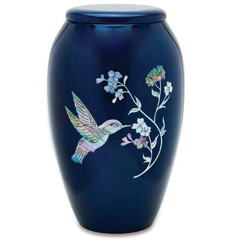 Blue Hummingbird Urn