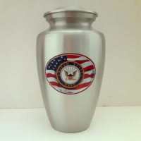Navy Urn with American Flag