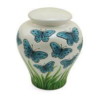 Blue Butterflies Ceramic Urn