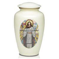 Jesus Stained Glass White Urn for Ashes