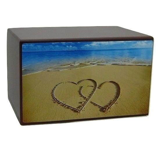 Hearts in Sand Beach Urn