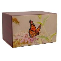 Blush Pastel Painting Butterfly Urn