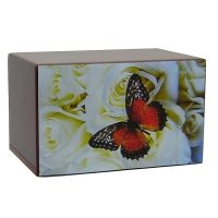 Butterfly on White Roses Urn