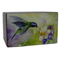 Hummingbird Urn Greens and Purples