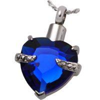 Blue Gem Heart Urn Pendant