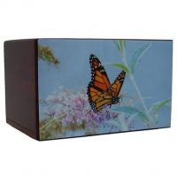 Blue Pastel Art Painting on Butterfly Urn