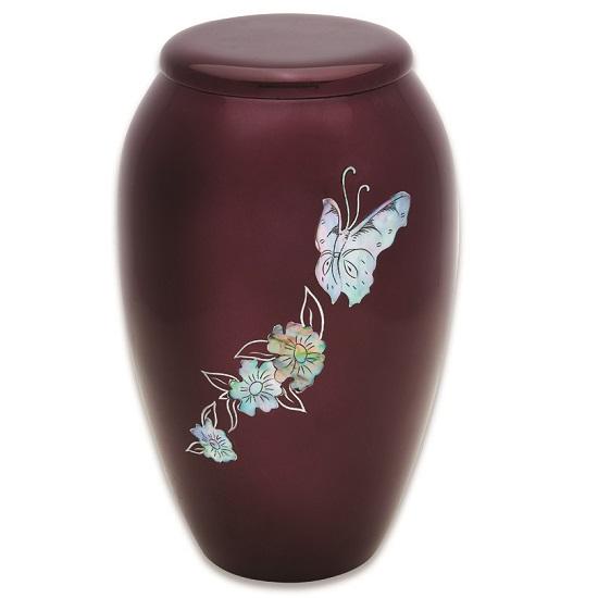 Burgundy Butterflies Urn