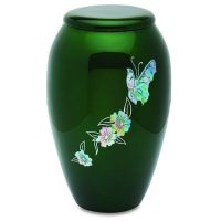 Green Mother of Pearl Butterfly Urn