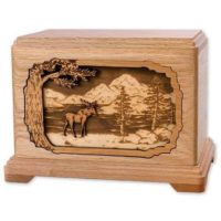 Moose In Nature Oak Urn