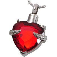 Red Gem Heart Urn Pendant