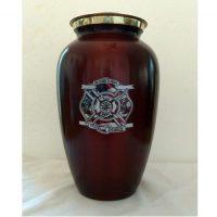 Deep Red Firefighter Urn