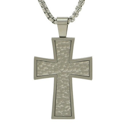 Textured Pewter Cross Cremation Pendant