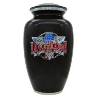 Live to Ride Motorcycle Urn in Black