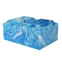 Blue Swirls Marble Urn for Two