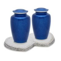 Blue Pearl Flecks Companion Urns