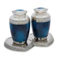 Brass Grecian Blue Companion Urn Set