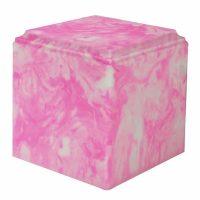 Carnation Pink Cube Large Marble Urn