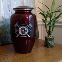 Firefighter Urn with 3D Medallion
